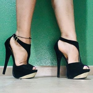 Black with gold qupid heels